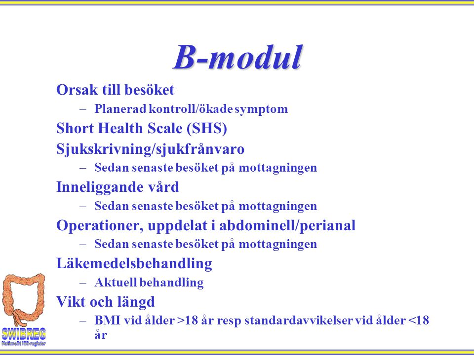 B-modul Orsak till besöket Short Health Scale (SHS)