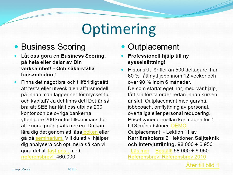 Optimering Business Scoring Outplacement Åter till bild 1