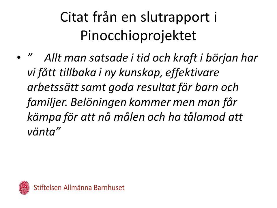 Citat från en slutrapport i Pinocchioprojektet