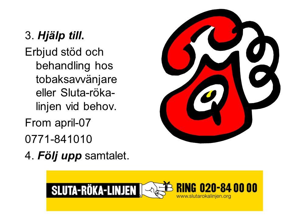 3. Hjälp till. Erbjud stöd och behandling hos tobaksavvänjare eller Sluta-röka-linjen vid behov. From april-07.