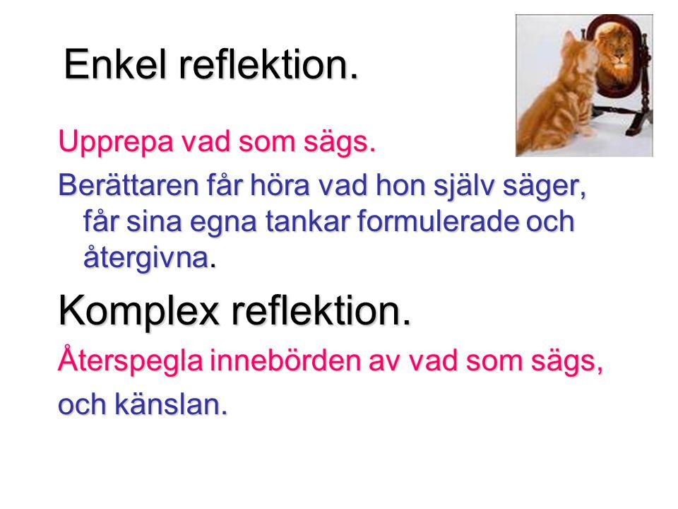 Enkel reflektion. Komplex reflektion. Upprepa vad som sägs.