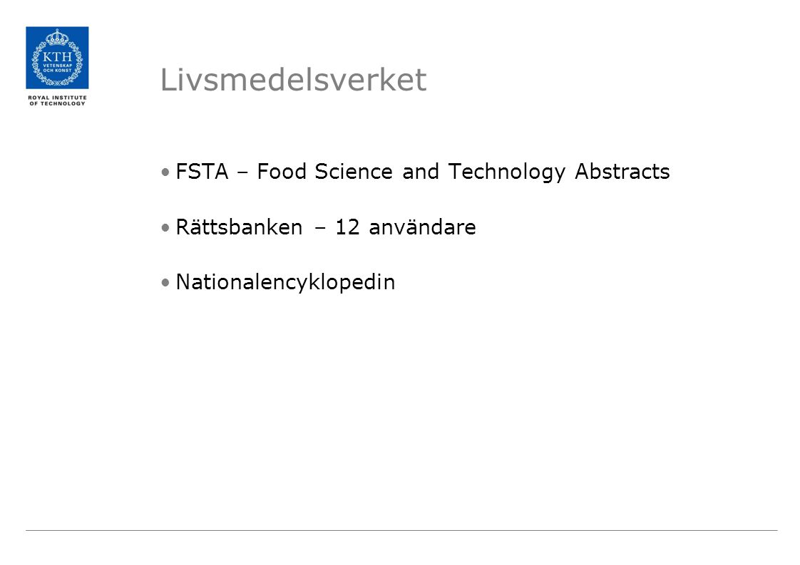 Livsmedelsverket FSTA – Food Science and Technology Abstracts