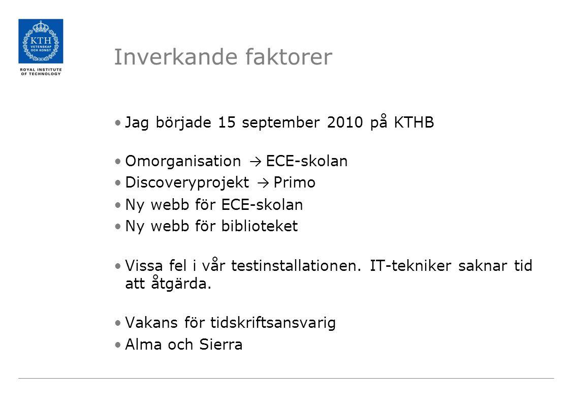 Inverkande faktorer Jag började 15 september 2010 på KTHB