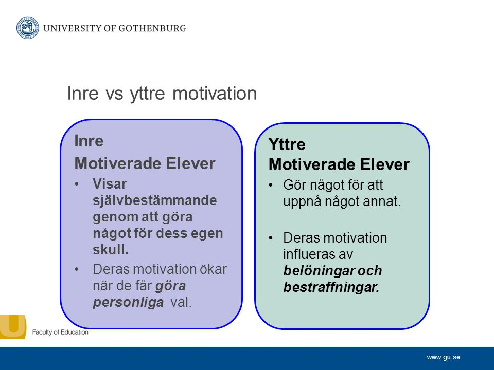 Inre vs yttre motivation
