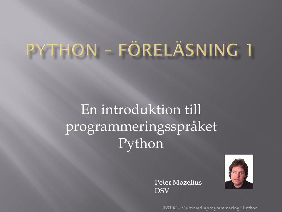 En introduktion till programmeringsspråket Python