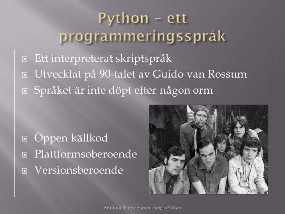 Python – ett programmeringsspråk