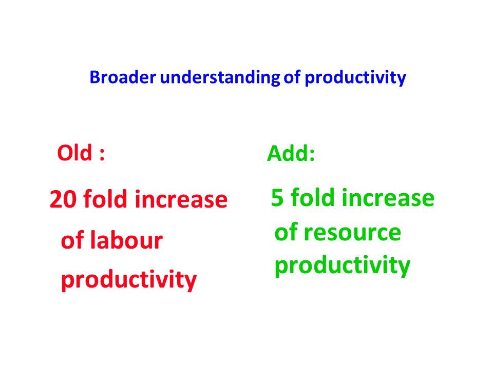 Broader understanding of productivity