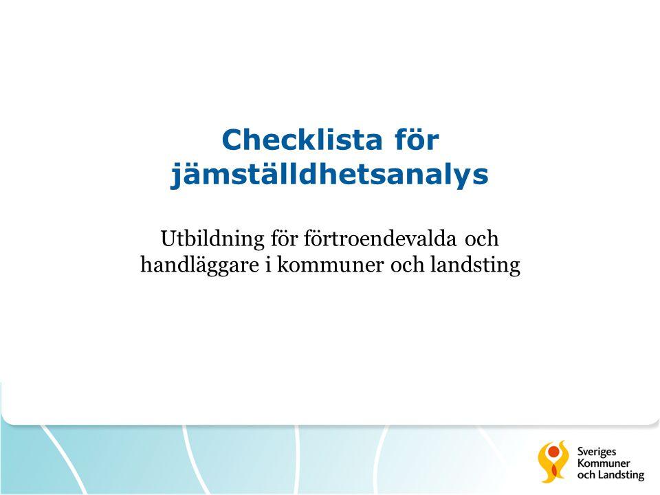 Checklista för jämställdhetsanalys
