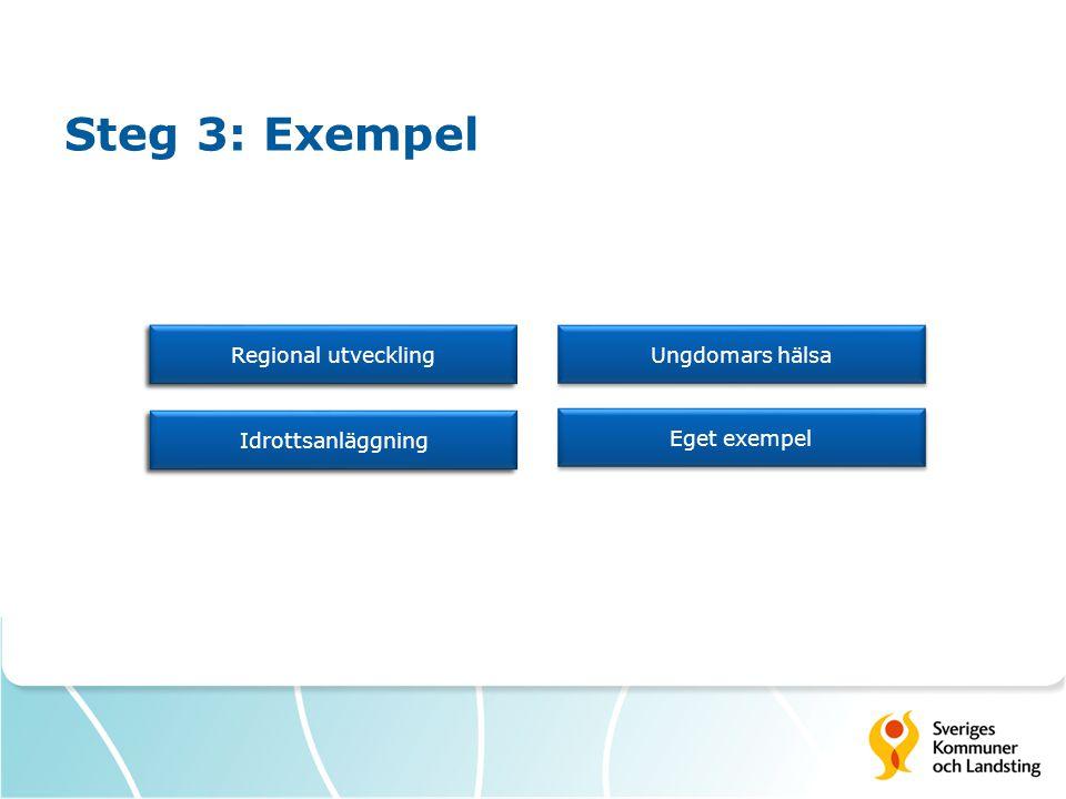 Steg 3: Exempel Regional utveckling Idrottsanläggning Ungdomars hälsa