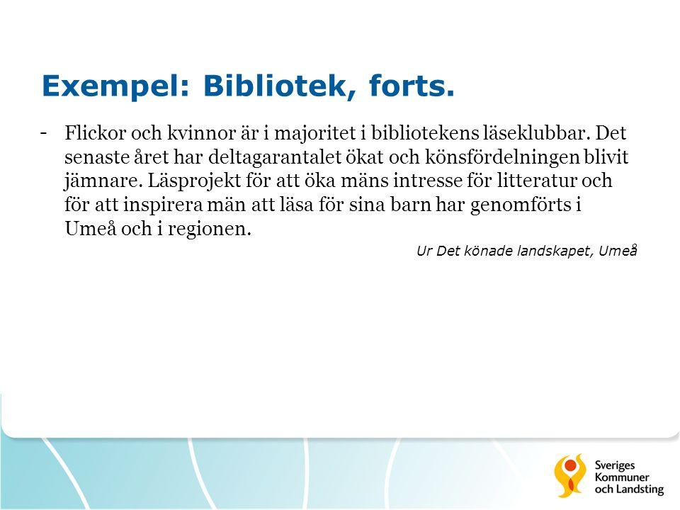 Exempel: Bibliotek, forts.