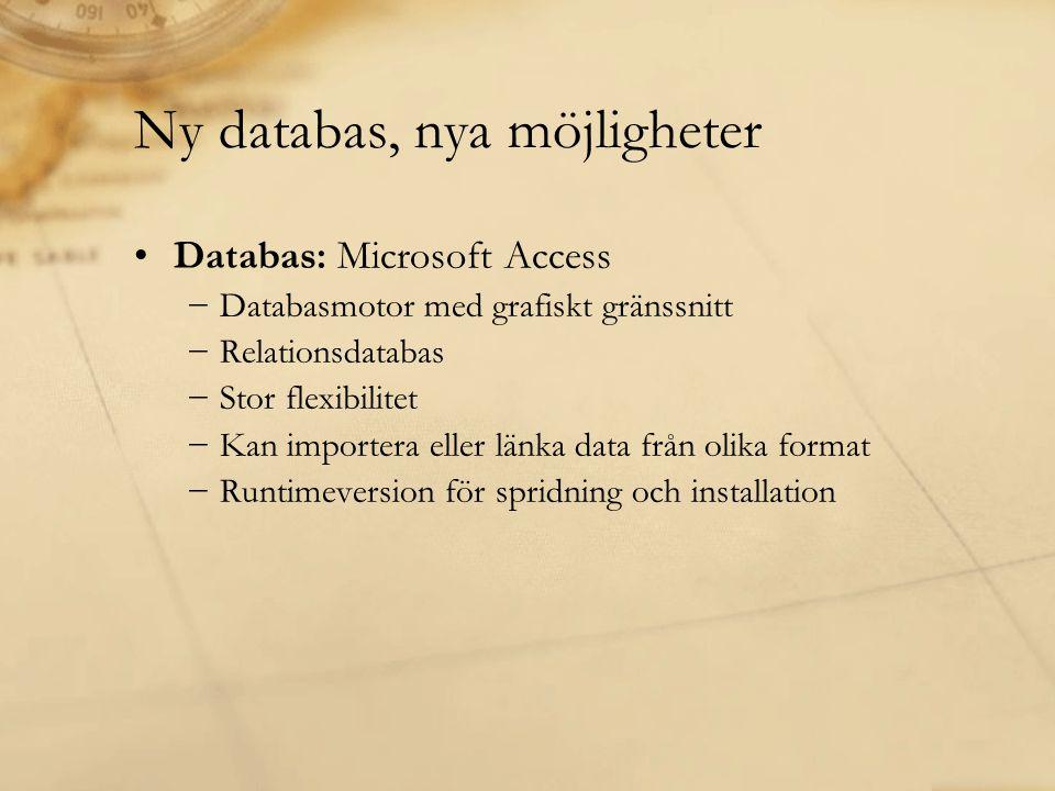 Ny databas, nya möjligheter