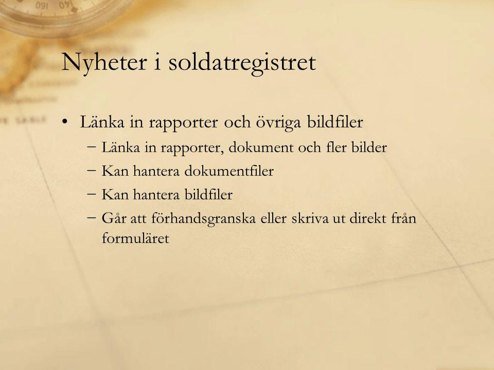 Nyheter i soldatregistret