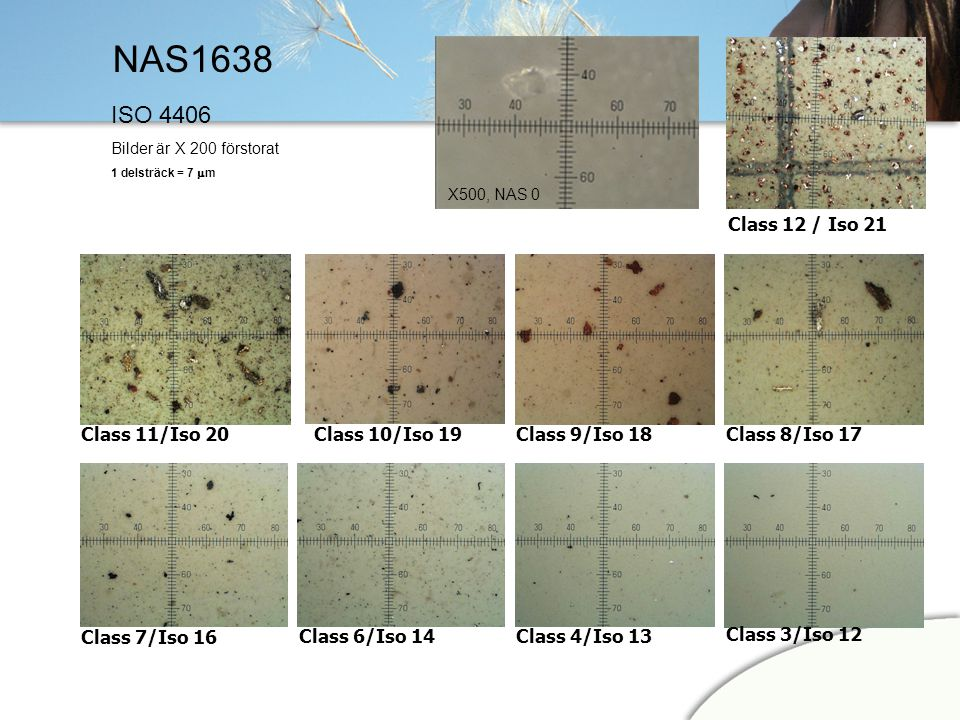 NAS1638 ISO 4406 Class 12 / Iso 21 Class 11/Iso 20 Class 10/Iso 19