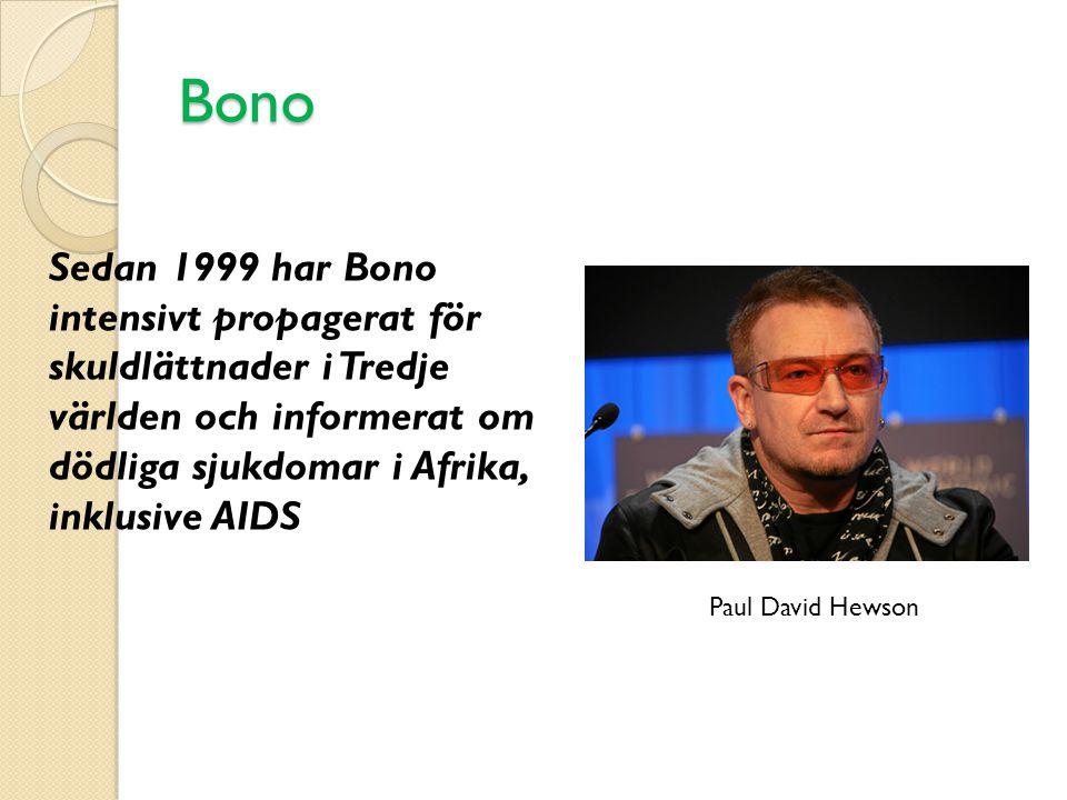 Bono Sedan 1999 har Bono intensivt propagerat för skuldlättnader i Tredje världen och informerat om dödliga sjukdomar i Afrika, inklusive AIDS.