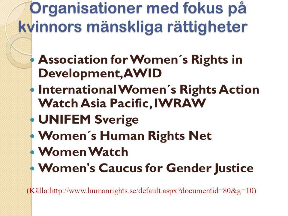 Organisationer med fokus på kvinnors mänskliga rättigheter
