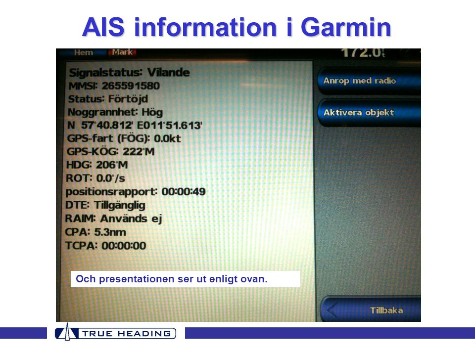 AIS information i Garmin