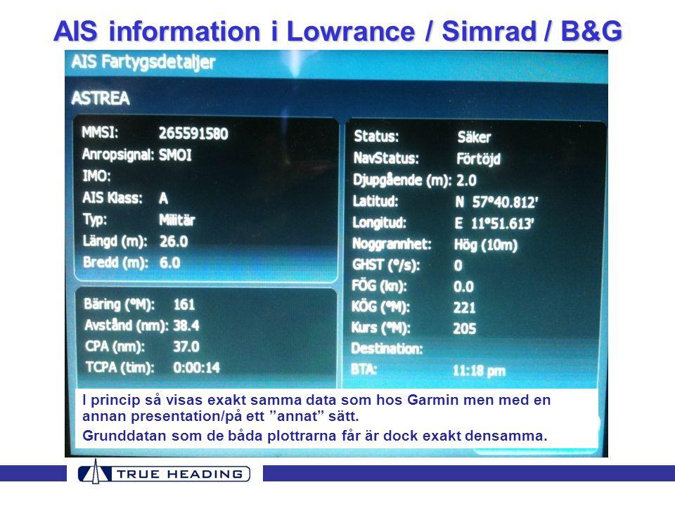 AIS information i Lowrance / Simrad / B&G