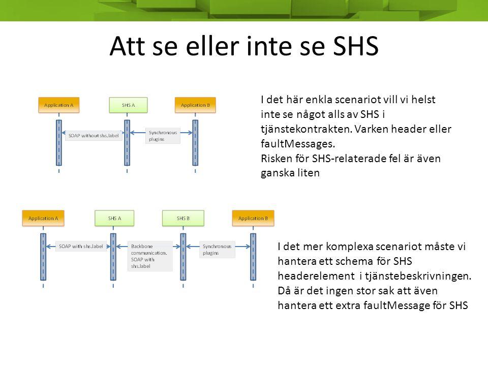 Att se eller inte se SHS I det här enkla scenariot vill vi helst inte se något alls av SHS i tjänstekontrakten. Varken header eller faultMessages.