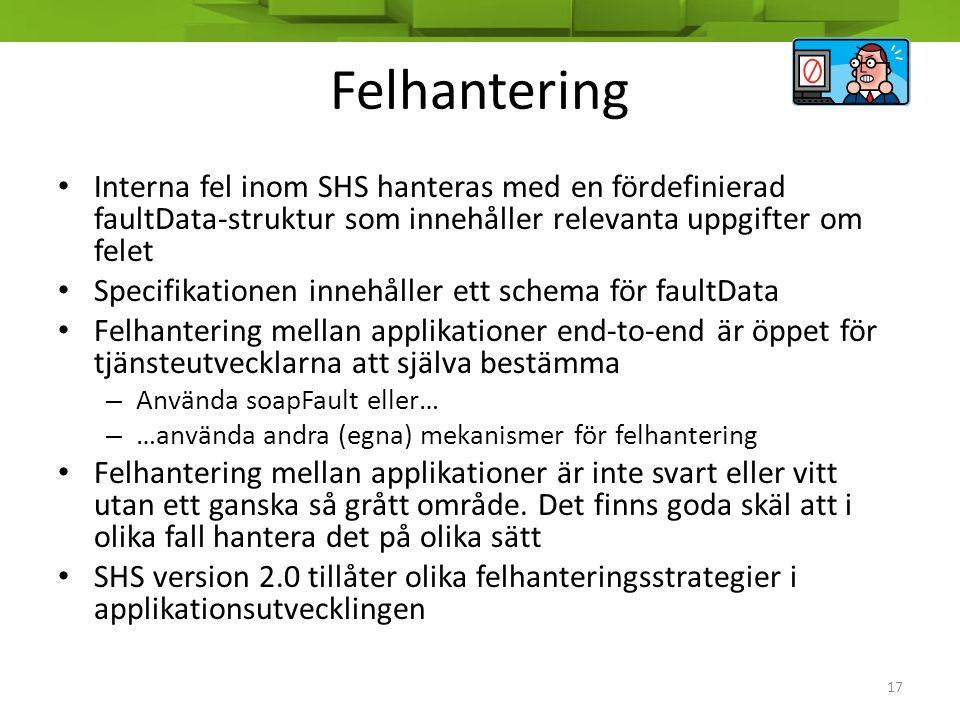 Felhantering Interna fel inom SHS hanteras med en fördefinierad faultData-struktur som innehåller relevanta uppgifter om felet.