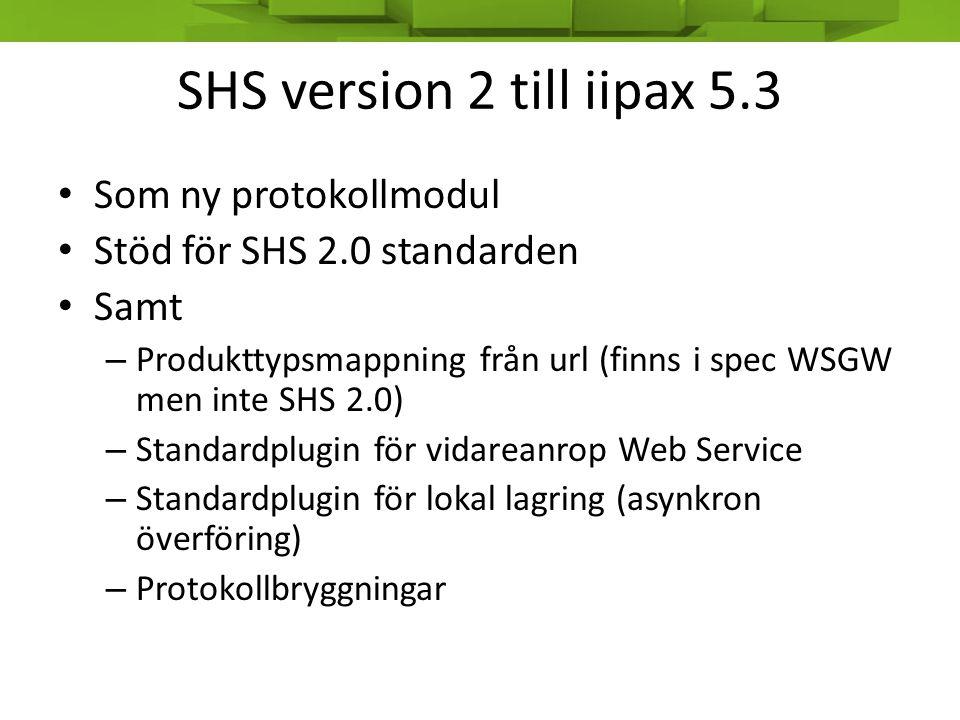 SHS version 2 till iipax 5.3 Som ny protokollmodul