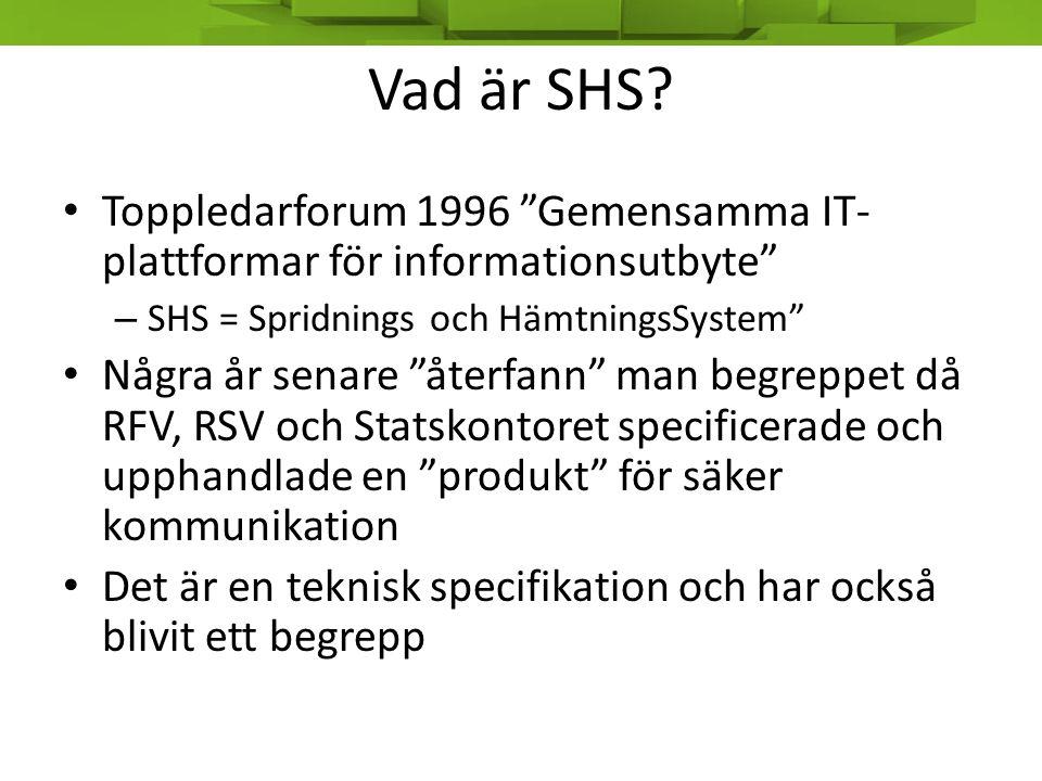 Vad är SHS Toppledarforum 1996 Gemensamma IT-plattformar för informationsutbyte SHS = Spridnings och HämtningsSystem