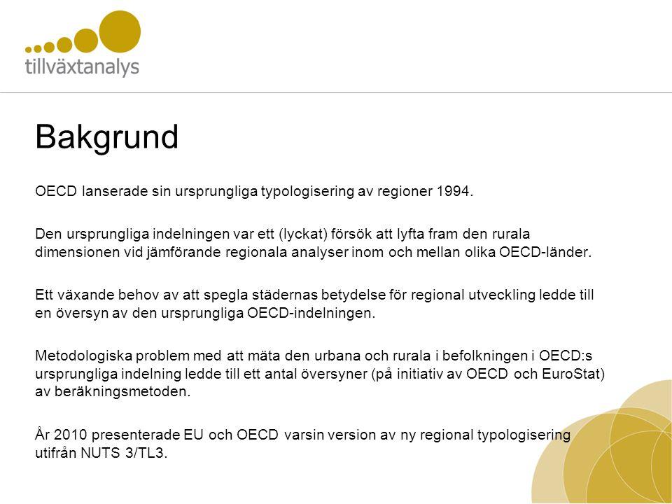 Bakgrund OECD lanserade sin ursprungliga typologisering av regioner 1994.