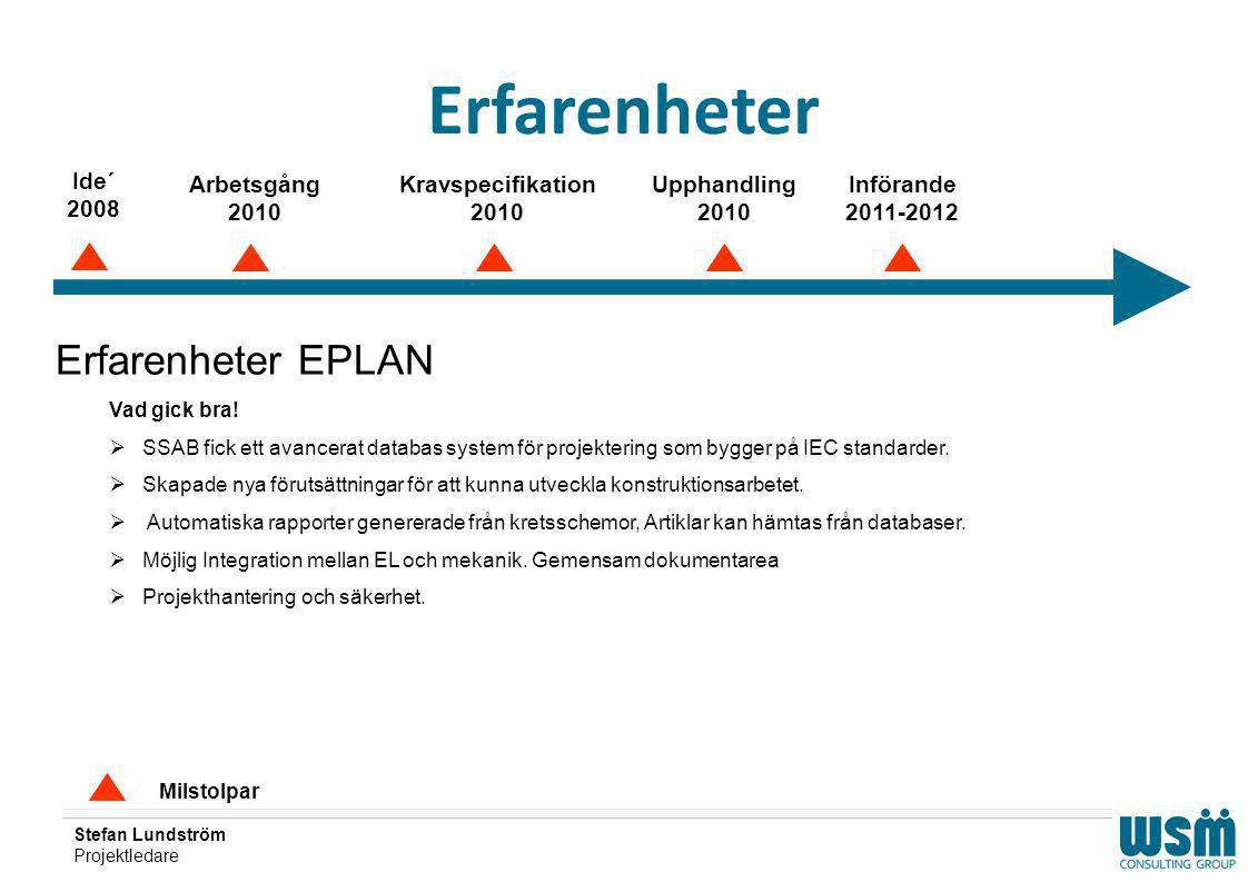 Erfarenheter Erfarenheter EPLAN Ide´ 2008 Arbetsgång 2010