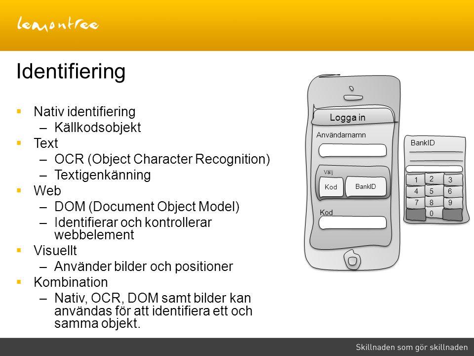 Identifiering Nativ identifiering Källkodsobjekt Text