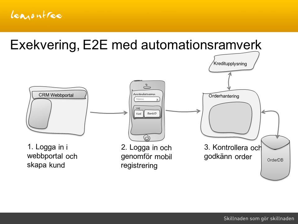 Exekvering, E2E med automationsramverk