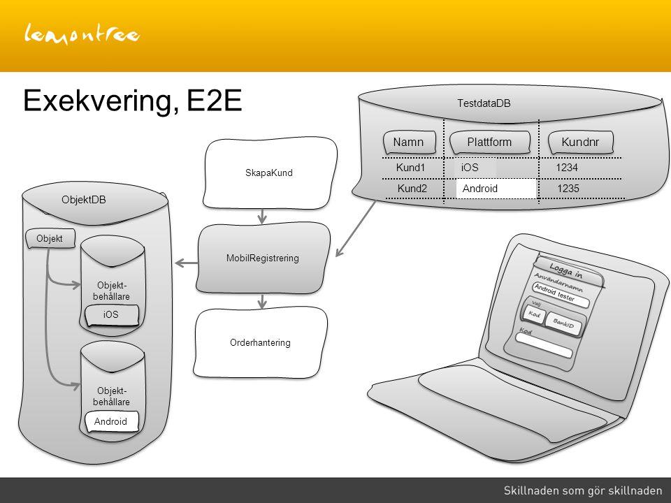 Exekvering, E2E Namn Plattform Kundnr TestdataDB iOS iOS Kund1 iOS