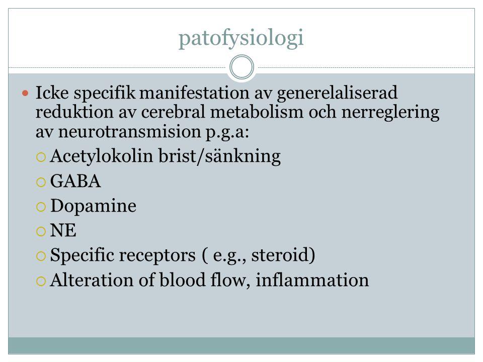 patofysiologi Acetylokolin brist/sänkning GABA Dopamine NE