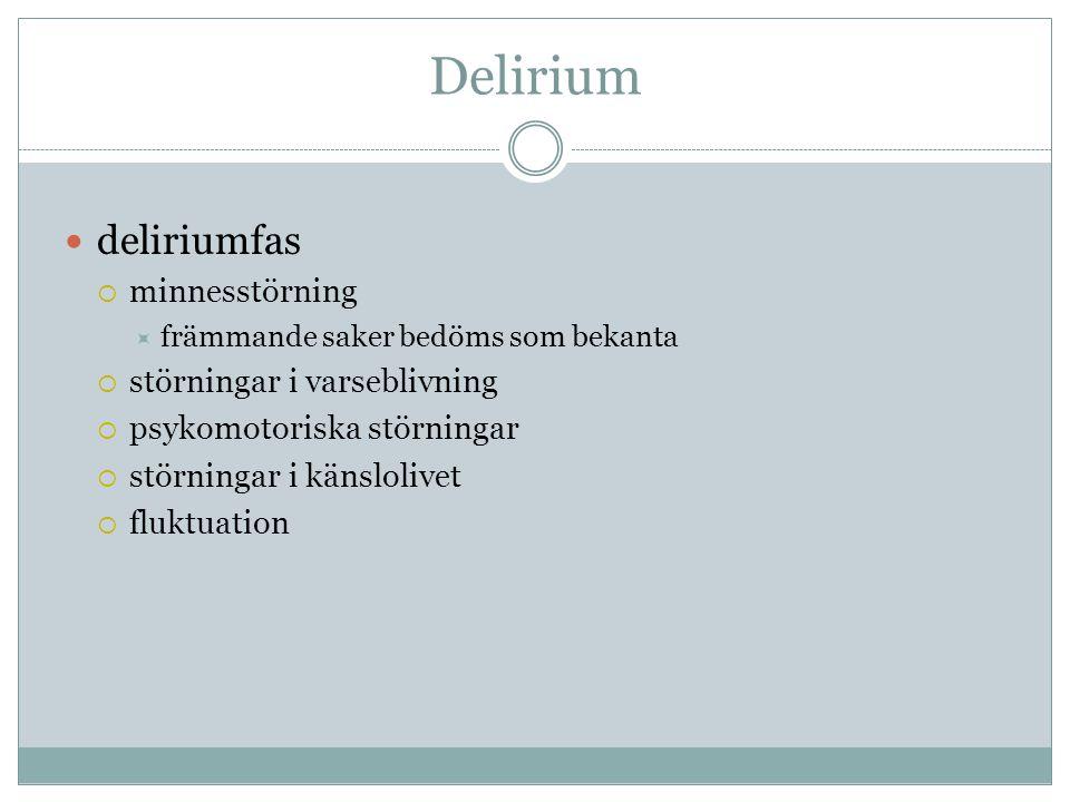 Delirium deliriumfas minnesstörning störningar i varseblivning