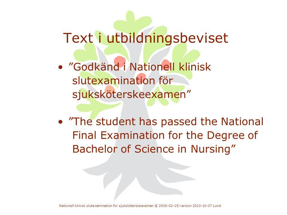 Text i utbildningsbeviset