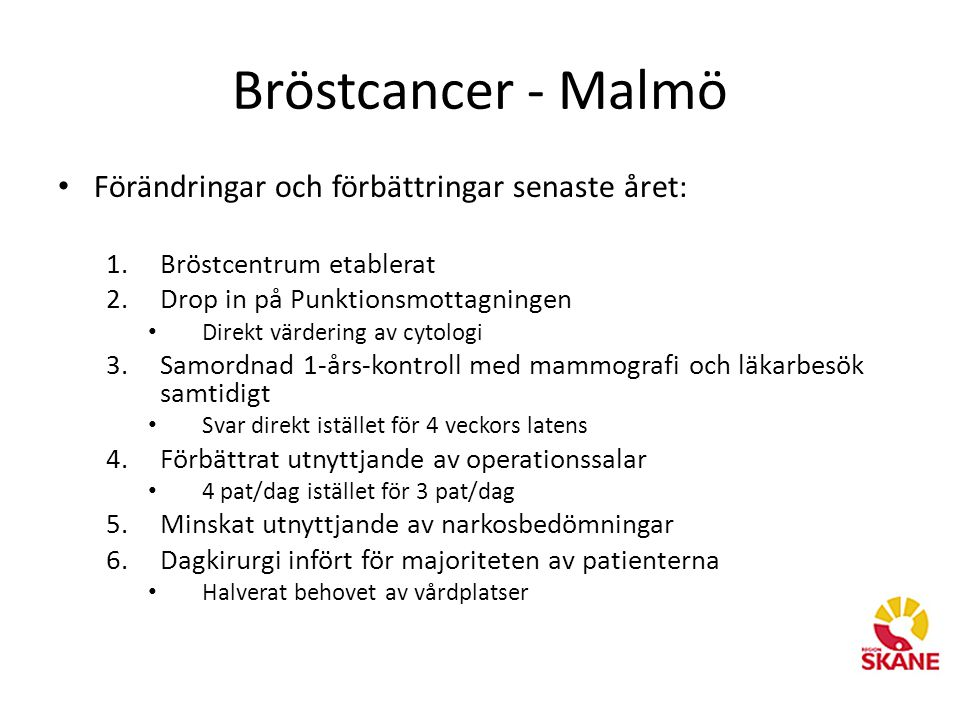 Bröstcancer - Malmö Förändringar och förbättringar senaste året: