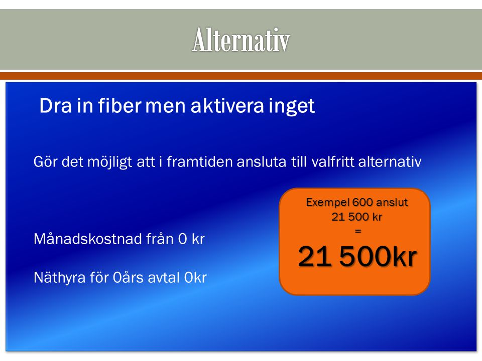 Alternativ 21 500kr Dra in fiber men aktivera inget