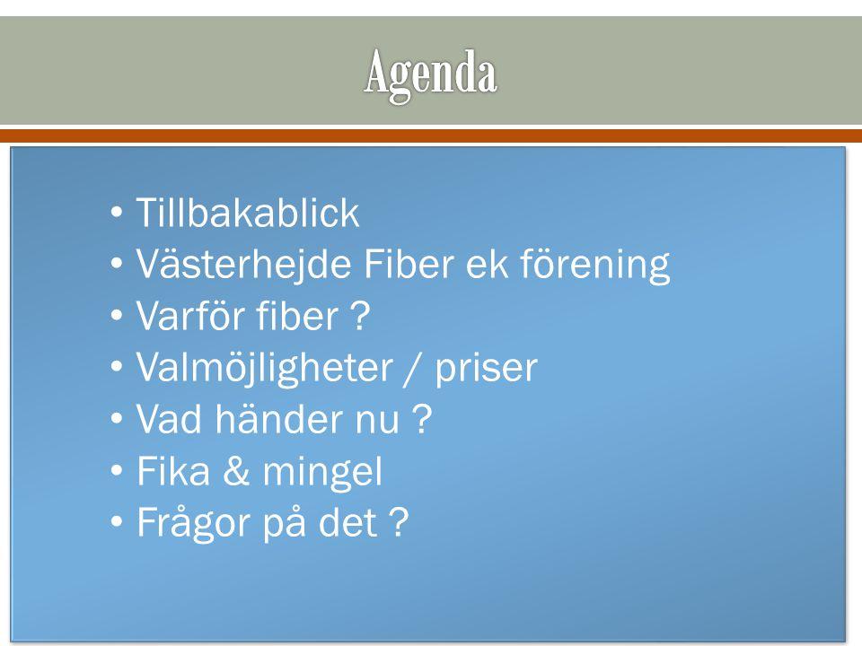 Agenda Tillbakablick Västerhejde Fiber ek förening Varför fiber