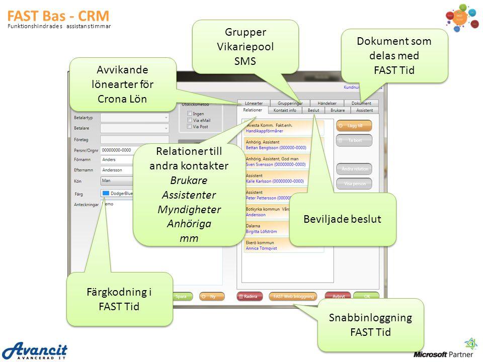 FAST Bas - CRM Grupper Vikariepool Dokument som delas med FAST Tid SMS