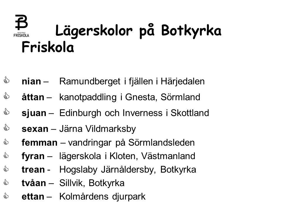 Lägerskolor på Botkyrka Friskola