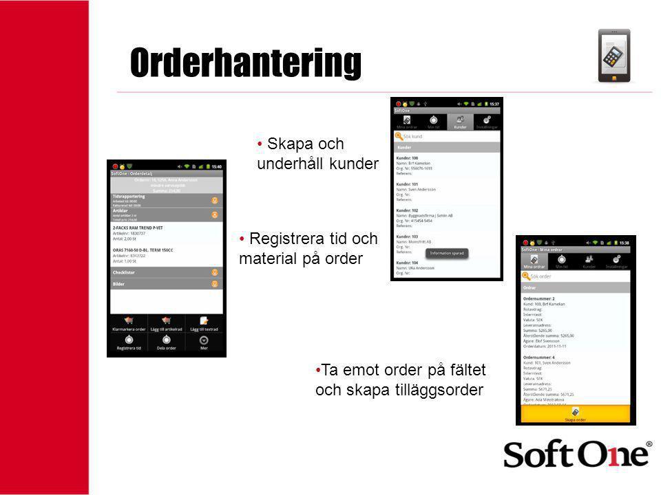 Orderhantering Skapa och underhåll kunder