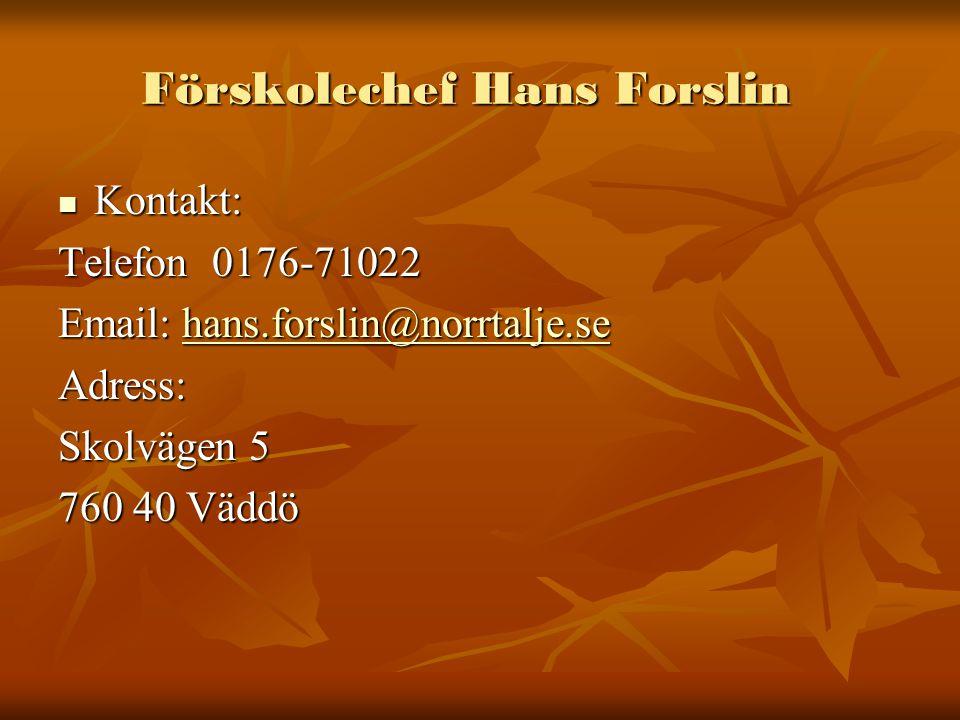Förskolechef Hans Forslin