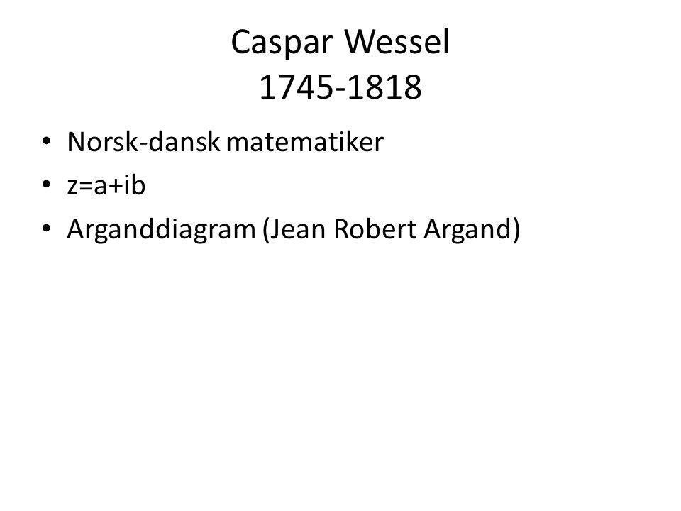 Caspar Wessel 1745-1818 Norsk-dansk matematiker z=a+ib