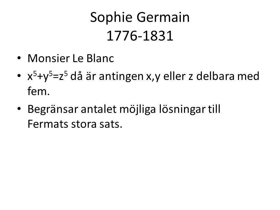 Sophie Germain 1776-1831 Monsier Le Blanc