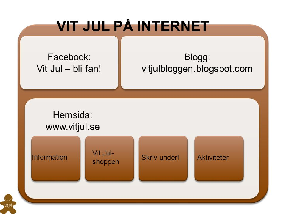 VIT JUL PÅ INTERNET Facebook: Vit Jul – bli fan! Blogg: