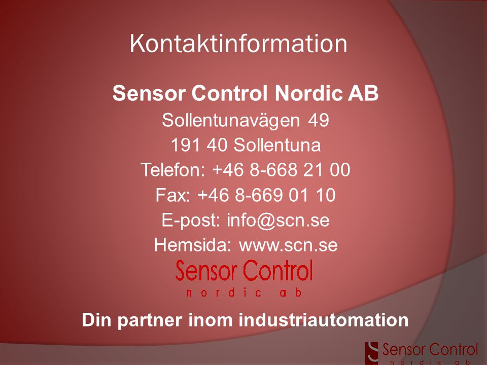 Sensor Control Nordic AB Din partner inom industriautomation