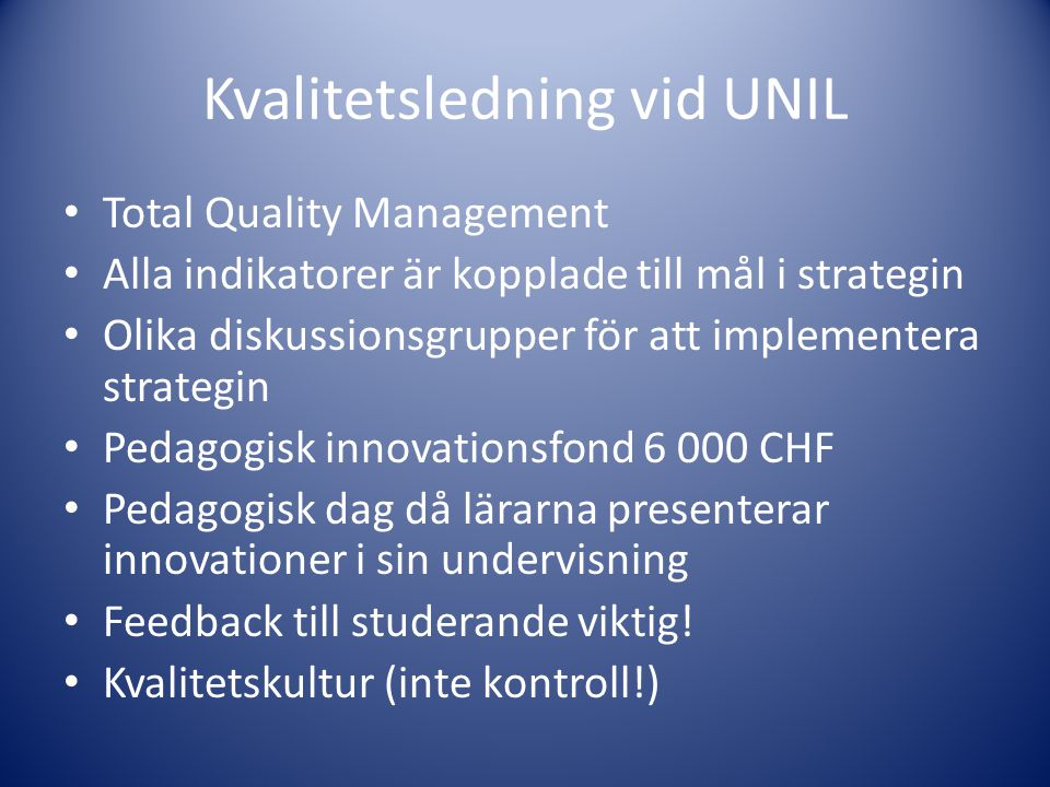 Kvalitetsledning vid UNIL