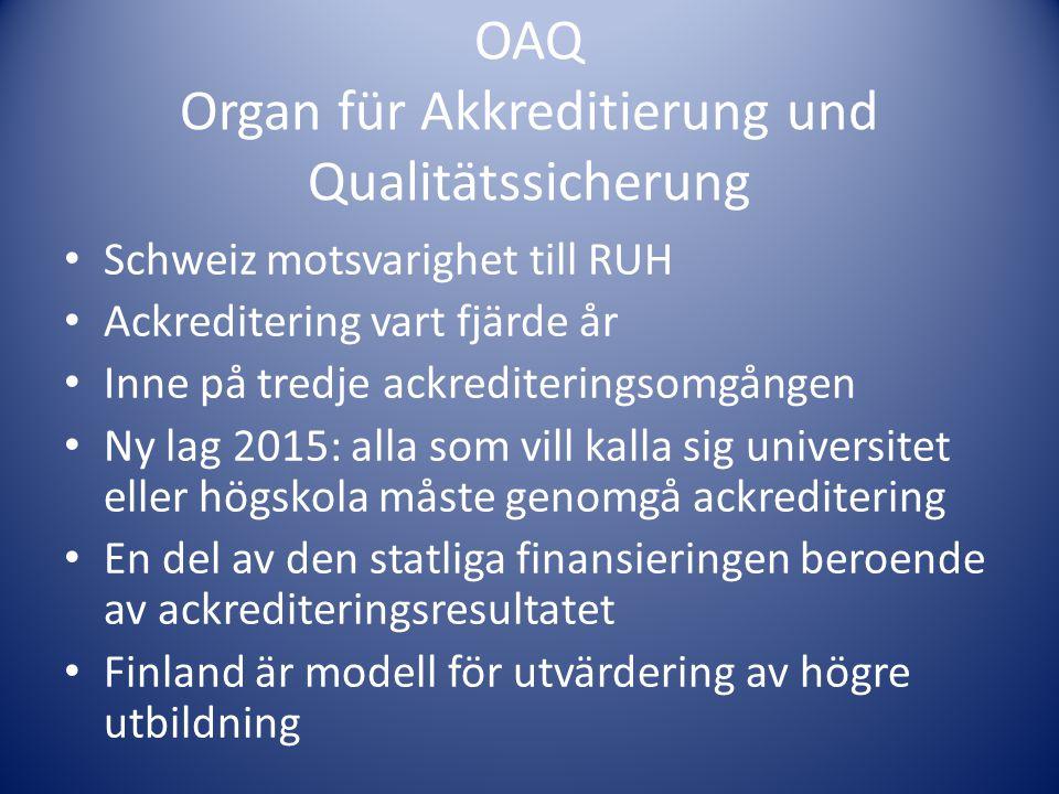 OAQ Organ für Akkreditierung und Qualitätssicherung
