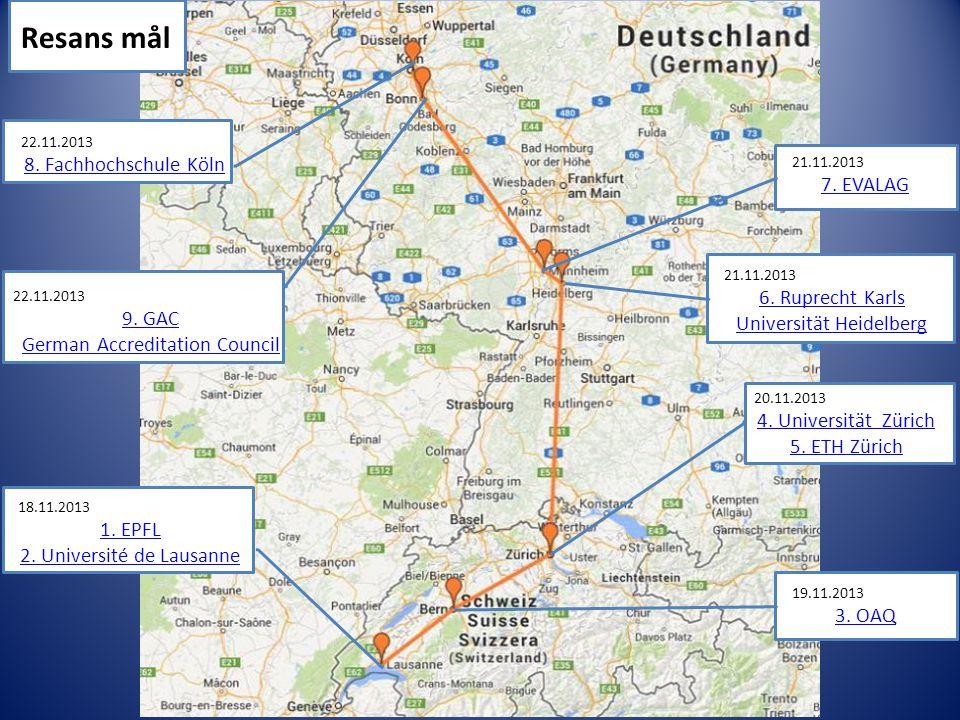 Resans mål 8. Fachhochschule Köln 7. EVALAG
