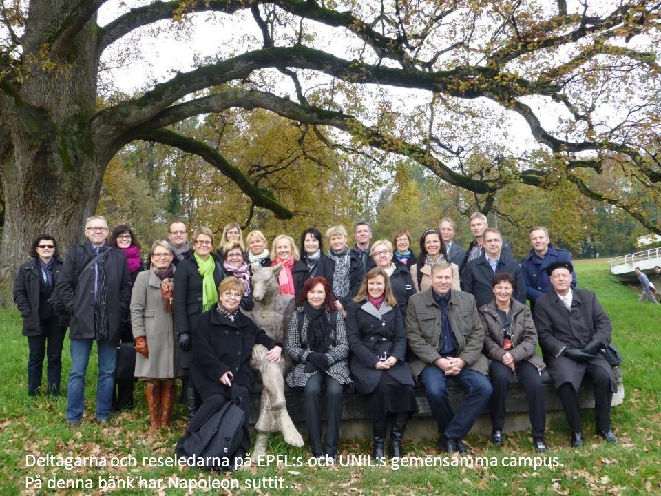 Deltagarna och reseledarna på EPFL:s och UNIL:s gemensamma campus