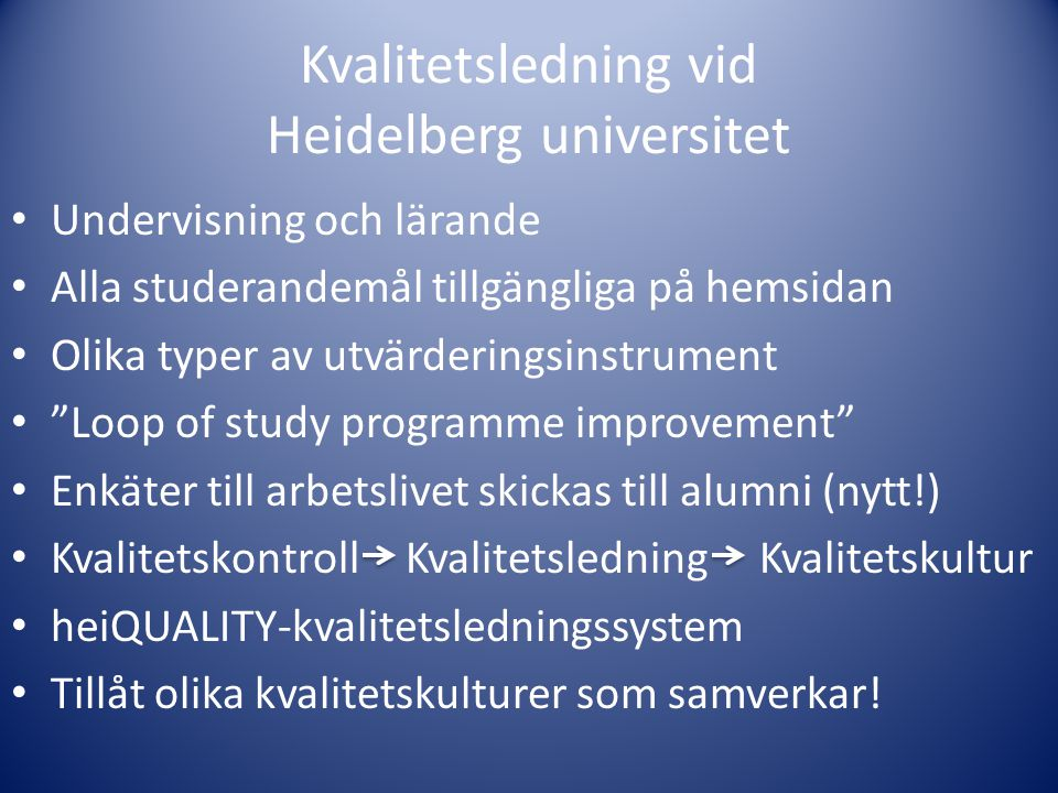 Kvalitetsledning vid Heidelberg universitet
