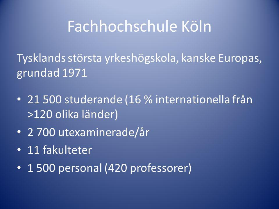 Fachhochschule Köln Tysklands största yrkeshögskola, kanske Europas, grundad 1971. 21 500 studerande (16 % internationella från >120 olika länder)